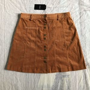Classic Corduroy Button Up Skirt